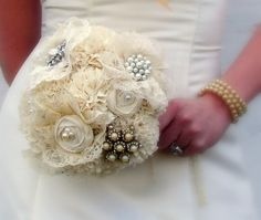 Fabric Flower and Broach Bouquet. Would you?