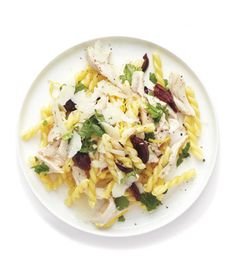 Lemony Chicken and Olive Pasta recipe from realsimple.com #myplate #protein