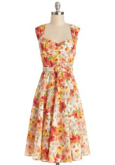 Dreamy Day Away Dress - Multi, Floral, Pleats, Belted, Daytime Party, Fit & Flare, Sleeveless, Better, Sweetheart, Cotton, Woven, Long