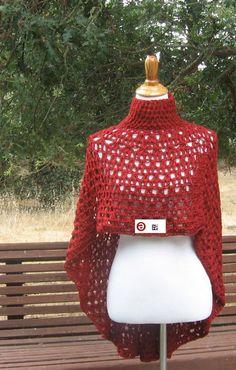 SHAWL RED PONCHO Crochet Capelet Mandala Chic by marianavail, $40.00