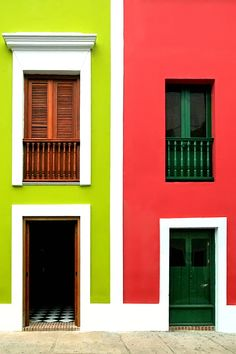 Love these contrasting colourful facades!