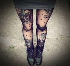 Sexy Leg Tattoo Designs for Women (7) thigh tattoos, polka dots, black boots, leg tattoos, grey dress, legs, tight, tattoo ink, combat boots