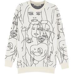 Stella McCartney White embroidered sweatshirt found on Polyvore