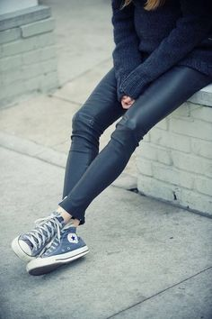 leather pants + converse