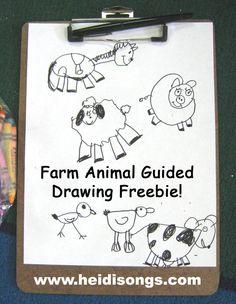 Farm Animal Guided Drawing Freebie from HeidiSongs!