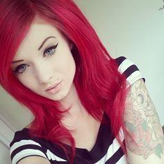 hair colors, emo girls, eye makeup, cat eyes, red hair, eyebrow makeup, emo hair, scene hair, tattoo ink