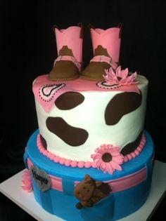 Cowgirl baby shower By jenje on CakeCentral.com    http://www.modern-baby-shower-ideas.com/cowgirl-baby-shower.html