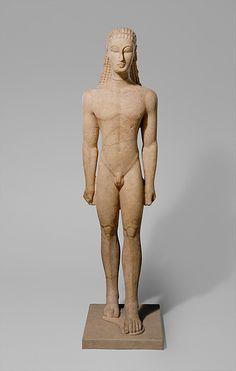 Marble statue of a kouros (youth)  Period: Archaic Date: ca. 590–580 B.C. Culture: Greek, Attic Medium: Marble, Naxian