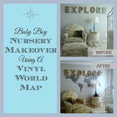 Baby boy Nursery makeover using a huge vinyl world map, custom bedding and book shelf.  Plus (up to $125) vinyl giveaway!