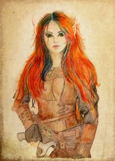 Artwork for a future story. Fire energy Elven warrior by Ruth Nickle.