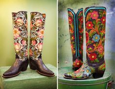 The Lotus Me (left) and Tularosa Pintado tall top boots from Rocketbuster