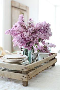 Ohhh! Beautiful lilac & crockery on a rustic tray....sigh...