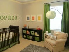 The green and gray color combination give this room a modern feel. #baby #nursery