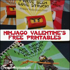 Free Printable Ninjago Valentines w/ Mini Candy Bar Wrappers