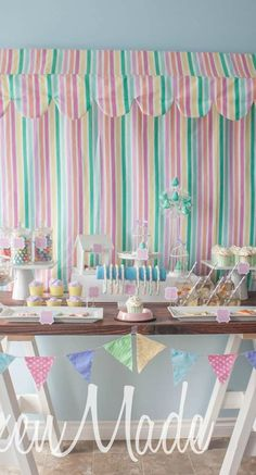 Pet Boutique Birthday Party dessert table and backdrop!  See more party planning ideas at CatchMyParty.com!