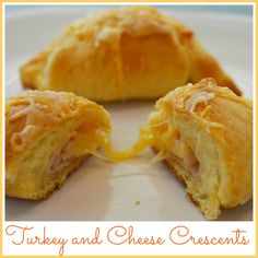 Crescent Roll Recipe: Turkey and Cheese Stuffed Crescents. Easy snack or lunch for kids. chees stuf, food, crescent rolls, crescents, crescent roll recipes, turkey, lunch, snack, stuf crescent