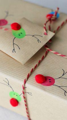 DIY Reindeer Fingerprint Wrapping Paper ~ using red pompoms