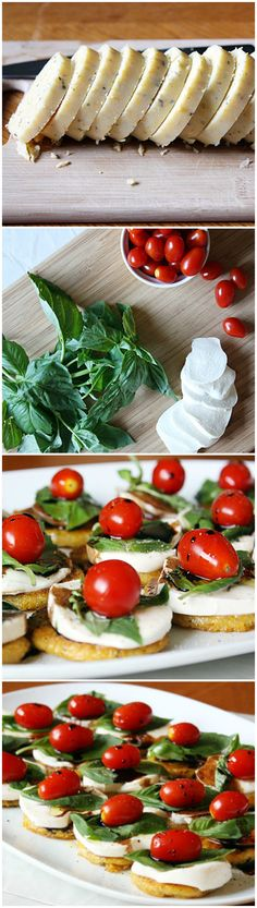 Caprese Polenta Bites:  love this idea.  For bite size finger food option, I plan to use mini polenta circles and a dollop of chopped oven roasted tomatoes over the mozzarella and basil.  A Greek option:  top fried polenta with slices of seeded cucumber, plum tomato and feta- top with kalamata olives.