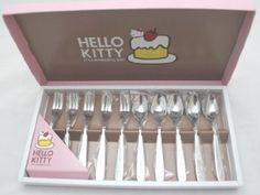 hello kitti, tea spoon, kitchen dining, fork set, home kitchens, 10 pcs, hellokitti, hello kitty, kitti stainless