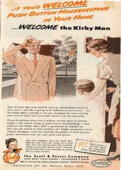 Here's a fun magazine ad from 1949 for the Kirby vacuum salesman. Follow us on Pinterest for more history and product information!