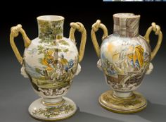 Pair of apothecary storage jars, Naples, Italy, 1756. These earthenware jars are illustrated with scenes from both the Old and New Testaments of the Bible.