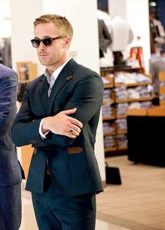 jacket, this man, men styles, ryan gosling, pizza, suit, men fashion, style men, men clothes