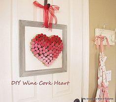 DIY wine cork heart by MyUncommonSliceofSuburbia.com via Hometalk.com.
