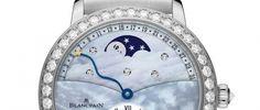 Blancpain Calendario Retrógrado Un sofisticado y elegante reloj con esfera de nácar en azul o blanco rodeada de diamantes y fases lunares.