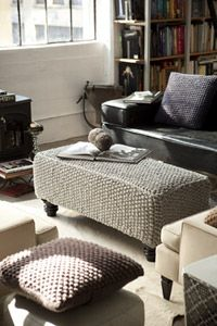 I do not have an ottoman, but if I did I would knit this awesome seed stitch cover for it, and all the pillows too, carpal tunnel be damned. (From Vogue Knitting)