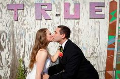 Read all about Halley & Josh' colorful modern vintage wedding on POptastic Bride (photo by Heather Parker)