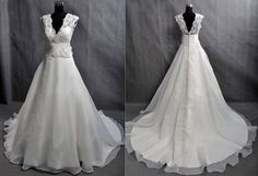 Custom Make Vintage Lace Organza Wedding Dress Bridal Gown Deep V Neck Prom Ball Gown with Train Buttons Flower Sash Plus Size Wedding Dress