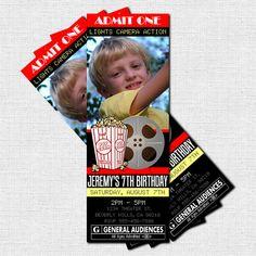 Movie night!  Movie theater ticket themed party invitations.