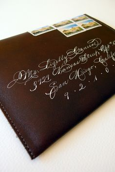 Leather envelopes amazing  Letterpress Rustic Mexican Wedding Invitation by Lizzy B Loves via Oh So Beautiful Paper (1)