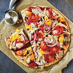 BBQ Chicken and Blue Cheese Pizza | MyRecipes.com