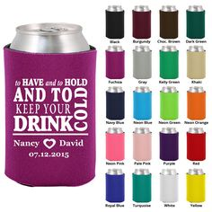 200 Custom Wedding Koozies - To Have and to Hold - Personalized (1784)