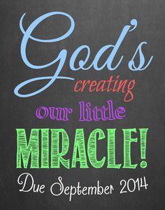 Pregnancy Announcement Chalkboard // God's by MMasonDesigns, $15.00