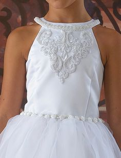 2013 Intriguing  Organza A-line Siren Beading First Communion Dress [FGD-4779]