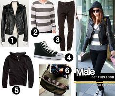 1. Rememberclick: Synthetic Leather Zip-Up Jacket @YesStyle.com 2. Forever 21: Heathered Rugby Stripe Pullover 3. Forever 21: Skinny Fit Clean Wash Jeans 4. Donnay: Conleec Mid Mens Hi Tops 5. Swell: Supreme Basic Zip Sweatshirt 6. MBaoBao: Faux Leather Trim Cross Bag @YesStyle.com