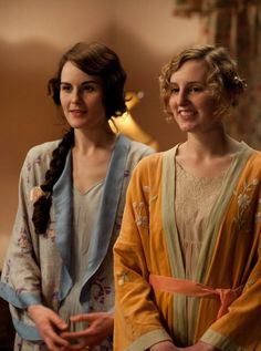 lady mary and lady edith watching the birth of lady sybils lovely little girl!