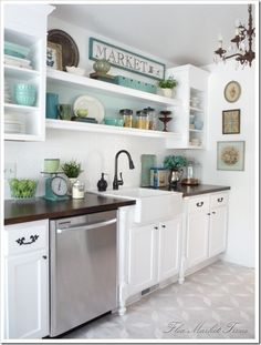 Shelving idea.   White and robin's egg blue kitchen - the dark brown counters with the stark white cabinets. Also, like the sink/faucet and color pallet, limes in the bowl, mixed china colors (find at goodwill or yard sale), and vertical layout of oval, rectangle, and square art on the wall.