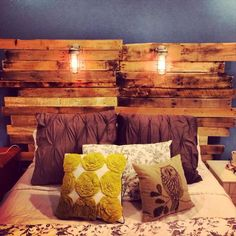 7 DIY Pallet Headboard Ideas | Pallet Furniture DIY I like the lights. Love the color choices