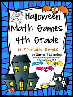 Halloween Math Games Fourth Grade by Games 4 Learning for bringing some Halloween fun into the classroom. This collection of Halloween math games contains 14 printable games that review a variety of fourth grade skills. $