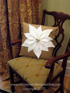 Pottery Barn Inspired Poinsettia Pillow... - Uncommon Designs...