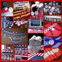Baseball Party Decorations | Centerpieces: I filled galvanized buckets with astroturf & baseballs ...