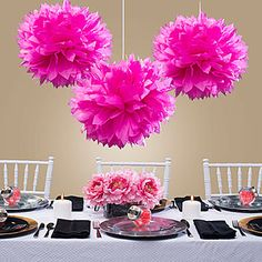 Our Pink Tissue Poms will add a colorful burst of color to your venue. Each pink tissue pom pom measures 16 inches in diameter. #Ballerina