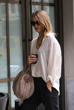 rosie huntington whiteley, fashion, style, bag, white shirts