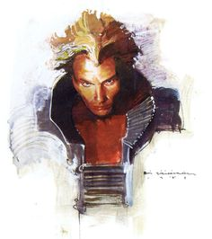 A study of Sting as Feyd-Rautha from David Lynch's Dune by [Bill Sienkiewicz].  Scanned from the Bill Sienkiewicz Sketchbook (Fantagraphics Books, 1990)