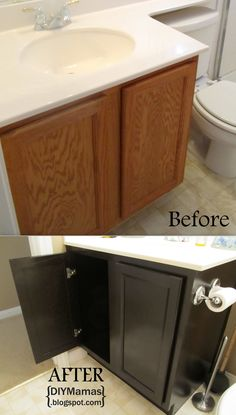 Refinishing cabinets! A MUST PIN! Quick make-over for any bathroom or kitchen!