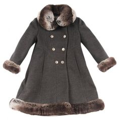 Girls Faux Fur Trimmed Skater Coat