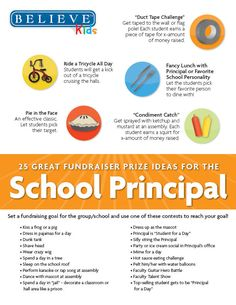 25 School Fundraising Ideas for Principals! Excellent ideas to help kids get more involved in your school's fundraiser!